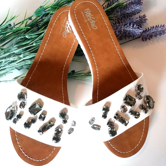 Mossimo Supply Co. Shoes - Mossimo White Sandals with Rhinestones Size 8.5